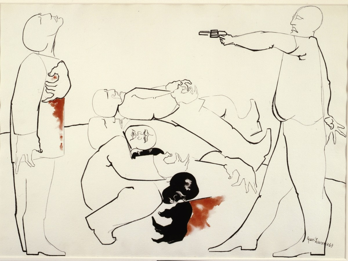 The Struggle III: Assassination (1969) by Jacob Lawrence