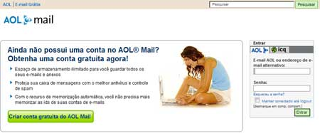 Diversos produtos da AOL, como seu e-mail, já foram localizados (de novo) para o Brasil