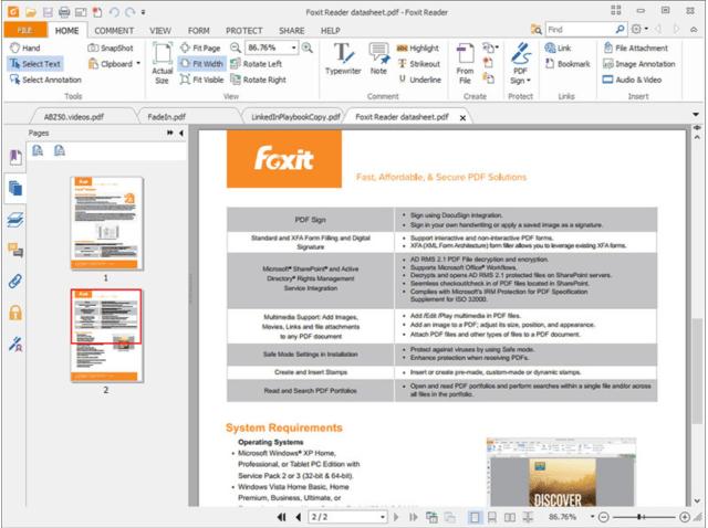 Foxit Reader View dokumen PDF percuma, dengan saiz sangat kecil (hanya saiz muat 2.55M), kelajuan pelancaran cepat dan set lengkap ciri-ciri. (alat desktop)