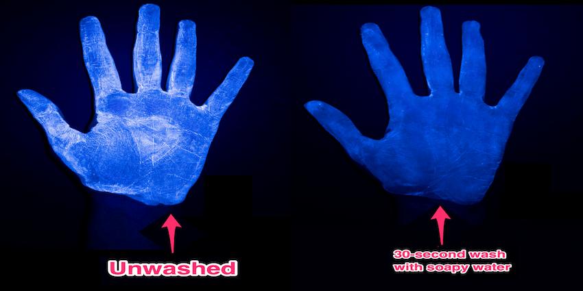 Gambar menunjukkan mengapa sabun dan air lebih baik berbanding hand sanitizer