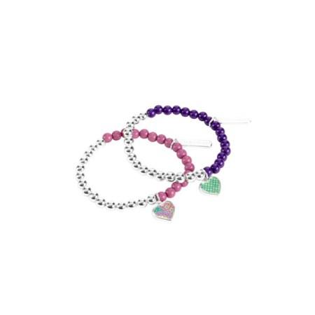 13088-144 Beaded Bracelet Duo Heather