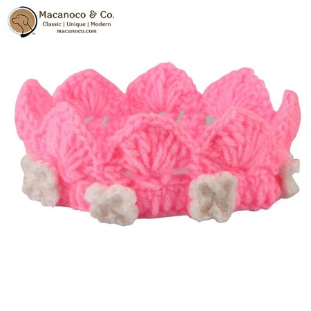 1421 crocheted-crown-pink-with-white-flowers-1