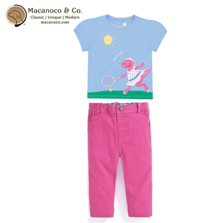 D7495BLU-D2776ORC Dinosaur Tennis Tshirt Cropped Twill Turn Up Trousers Orchid
