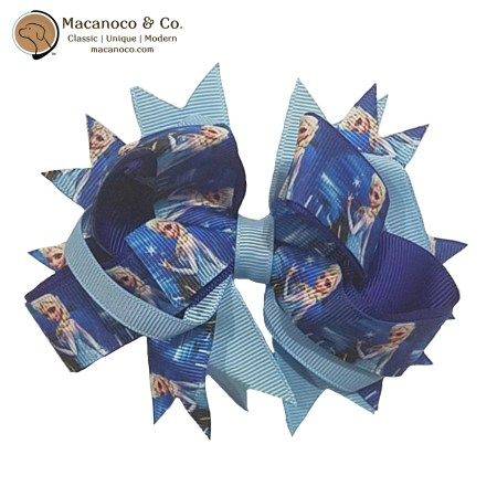 3856 Frozen Grosgrain Bow Hair Clip BlueNavy 1