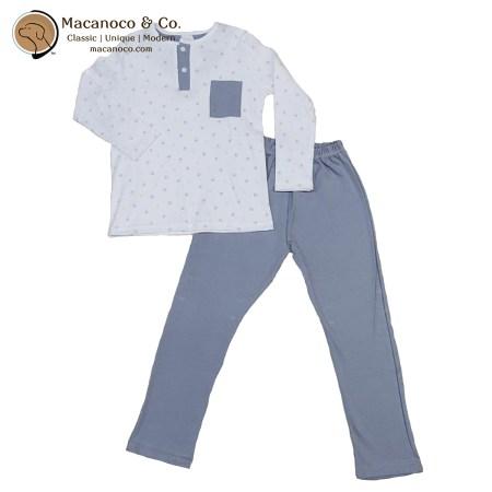 71116 Huellas Button Pocket Shirt and Pant Pajama Grey 1