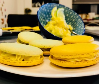 Lemon and lime macarons