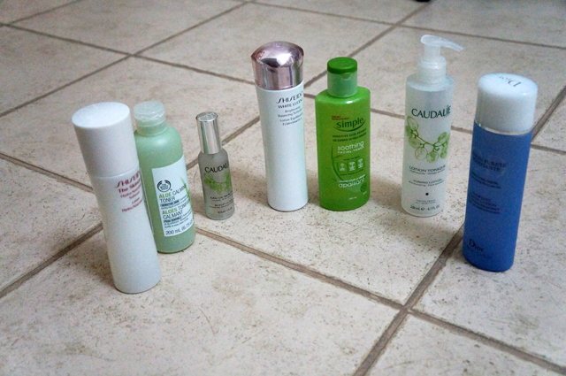 Left to Right: Shiseido The Skincare Hydro- Nourishing Softener Lotion, The Body Shop Aloe Calming Toner, Caudalie Beauty Elixir, Shiseido White Lucent Brightening Balancing Softener, Simple Soothing Facial Toner, Caudalie Toning Lotion, Dior Purifying Toning Lotion