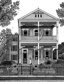 Pen and ink Macarty house