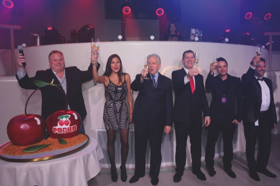 (From left to right) Eddie Dean, Marta Planells Lucendo, Pacha Franchises Director, JD Clayton, Property President Studio City, Liam Dwyer, Tony Prats, Technical Director Pacha Ibiza and Francisco Ferrer, Managing Director Pacha Ibiza celebrate the opening with a champagne toast