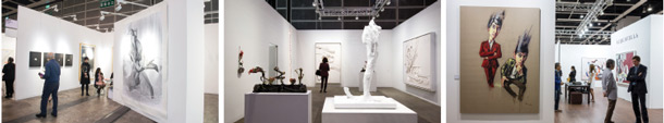 From left to right: Vanguard Gallery, Andrea Rosen Gallery, Acquavella Galleries