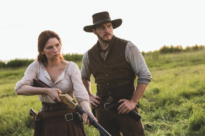 "Haley Bennett (left), and Chris Pratt appear in a scene from ""The Magnificent Seven."""