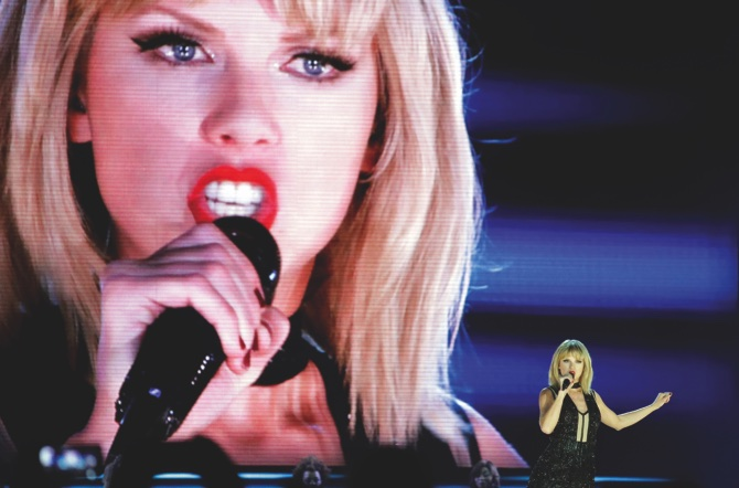 Taylor Swift performs on the eve of the Formula One U.S. Grand Prix auto race at Circuit of the Americas