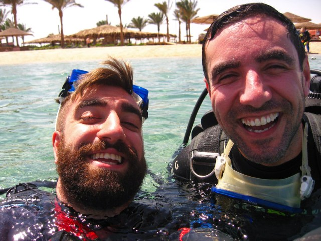 Carl and I drunk off life about to start a dive