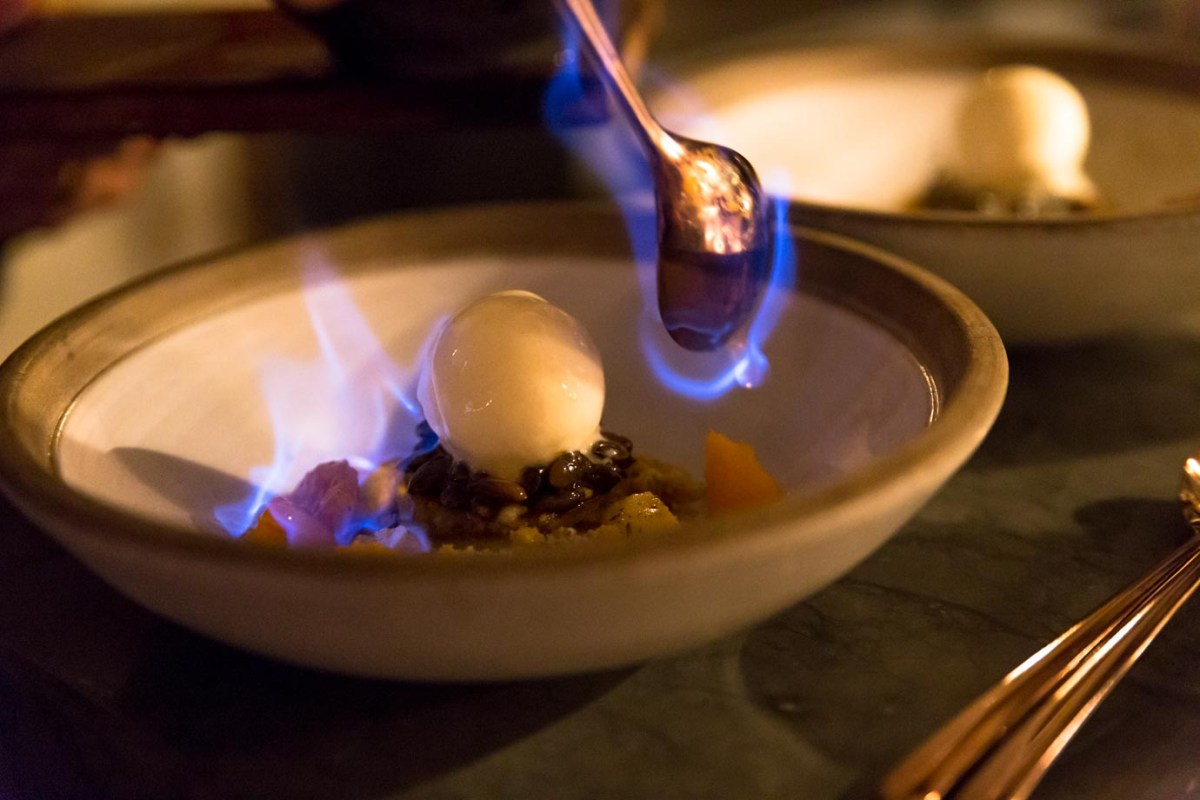Flaming ice cream at Ekstedt