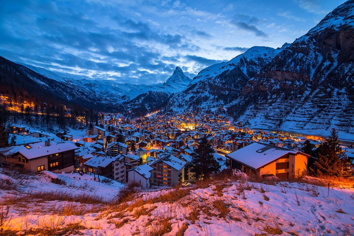 The view of the Matterhorn in Zermatt, Switzerland