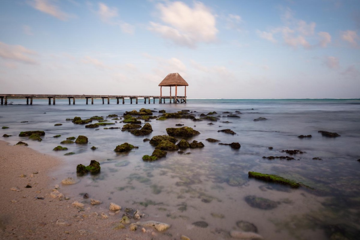 A long deserted pier at Playa del Carmen, Mexico