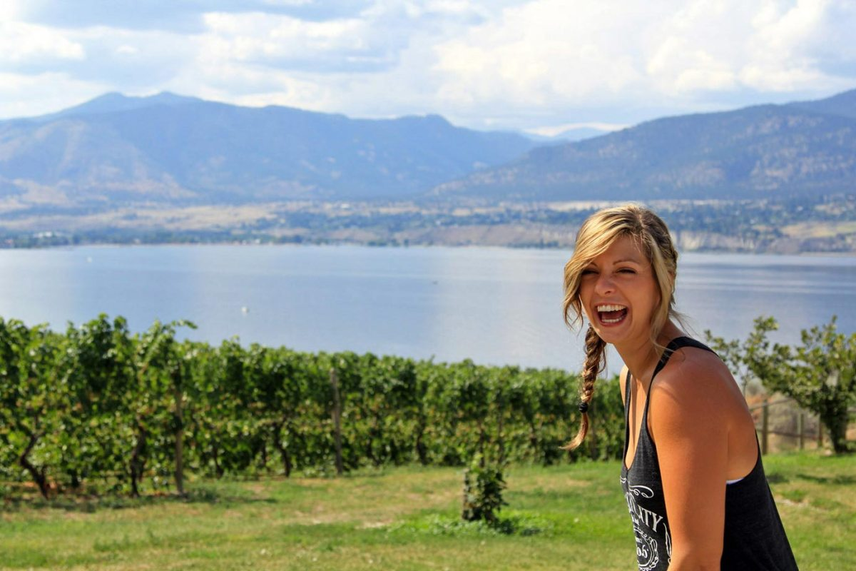 Playing around on a wine tour of the Naramata Valley in Canada