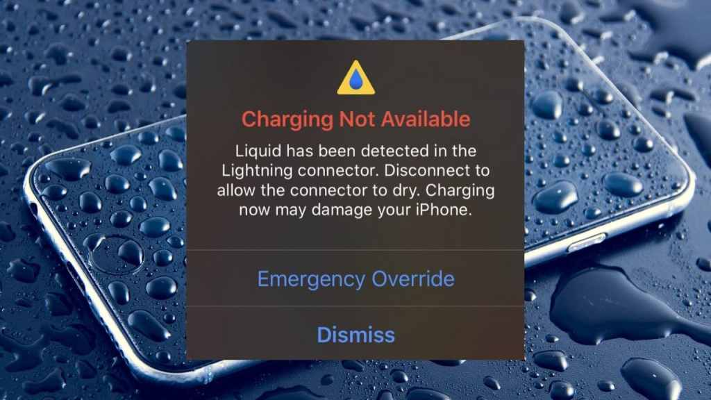 liquid in the lightning connector