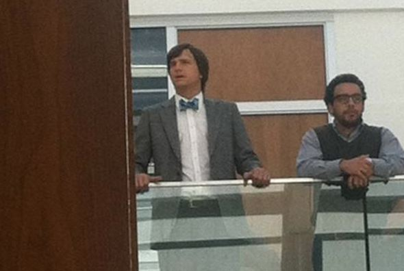 "Ashton Kutcher as Steve Jobs on the set of  ""jOBS"" bioflick"