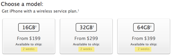 iPhone 5 sold out, slips to 2 weeks shipping