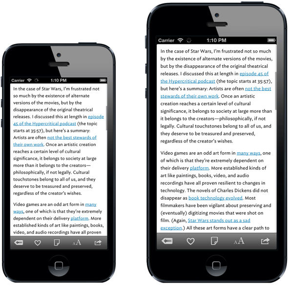 "iPhone 5 (left) vs. ""iPhone Plus"" (image: Marco.org)"