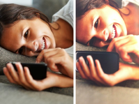 Shutterstock model with Apple iPhone in original shot (left) vs. Samsung's ad (right)