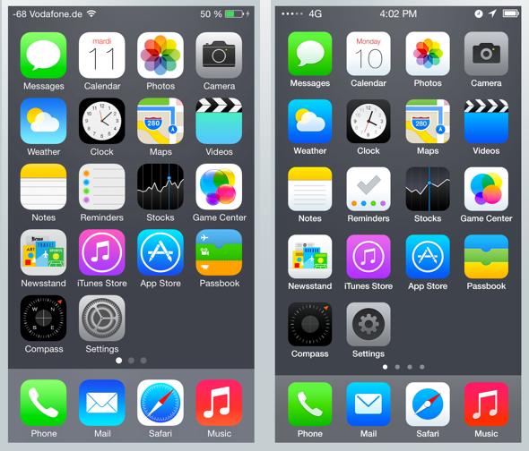 Apple's iOS 7 Beta 1 (left), Leo Drapeau's iOS 7 makeover (right)