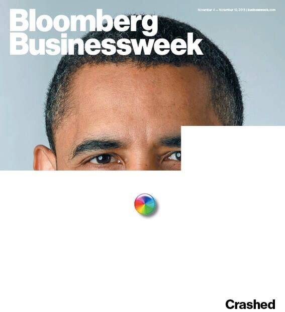 """Bloomberg Businessweek cover uses Apple's OS X wait cursor to illustrate """"Obama crash"""""""