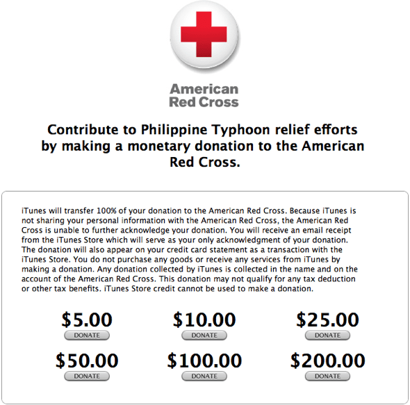 Apple iTunes' Typhone  Haiyan donations for The Philippines