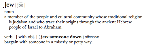 """Apple's current system-wide Dictionary definition of the word """"jew"""""""