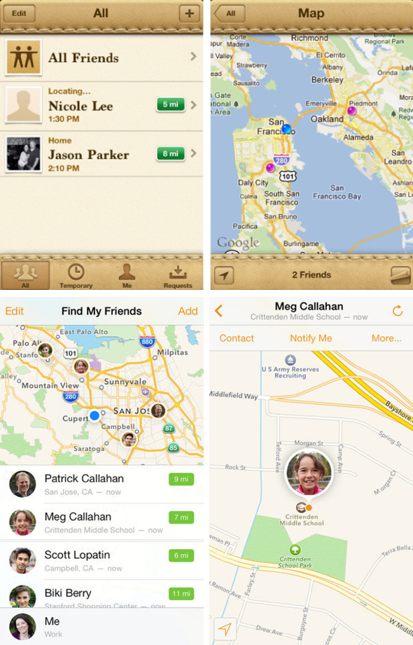 Find My Friends original (top) and Find My Friends 3 (bottom)