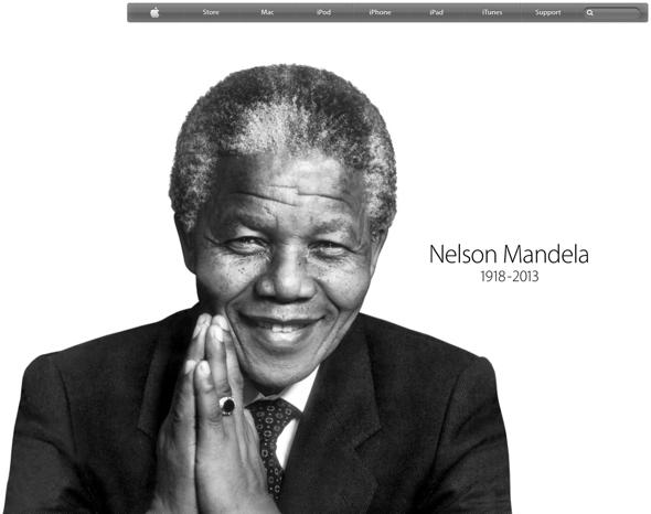 Apple Inc.'s website pays tribute to Nelson Mandela