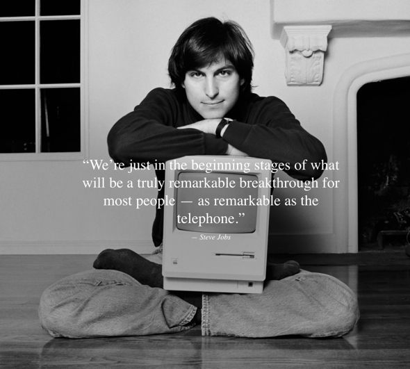 Steve Jobs with the Macintosh
