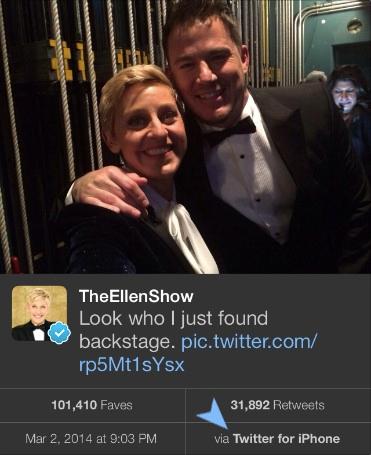 Ellen DeGeneres' backstage tweet from her iPhone