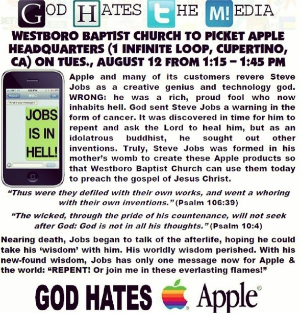 Westboro Baptist Church to picket Apple, Google, others