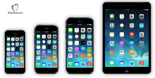 Left to right: iPhone 5s, iPhone 6 (4.7-inch), iPhone 6 (5.7-inch), iPad mini (7.9-inch) via MacRumors