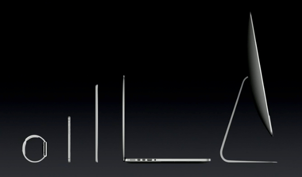 From left to right, Apple Watch, iPhone 6, iPad Air, MacBook Pro, iMac with 5K Retina display