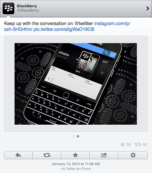 BlackBerry tweets from their Apple iPhone