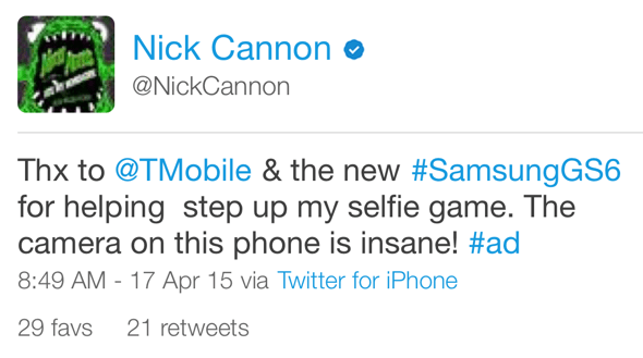 Nick Cannon's tweet (via Echofon app) reveals it was sent from an iPhone