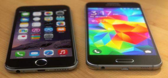 Apple iPhone 6 (left) Samsung Galaxy S6 (right) (photo: GottaBeMobile)