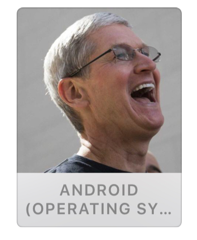 iOS 9 beta 3 includes a photograph of Apple CEO Tim Cook laughing as the News app's Android topic image