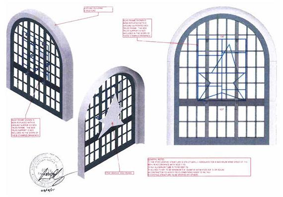 "Bill Graham Civic Auditorium ""Star"" logo in window proposal"