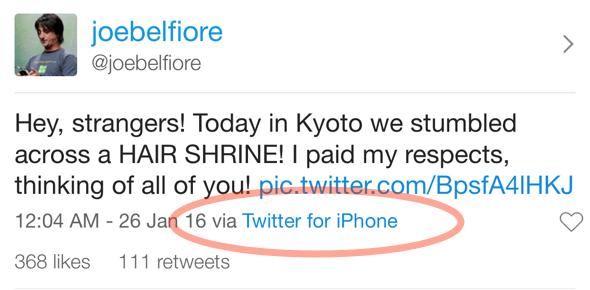 Tweet from Joe Belfiore's Apple iPhone via Echofon
