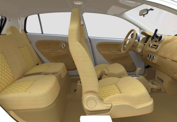 """The interior of the V-Vehicle used fibre-wood throughout, which was left exposed and gave the car an organic appearance. According to designers, it also made the car smell like fresh wood. """"The fresh-car smell you're used to is actually just plastic. The wood smell is way more pleasant."""" Photograph: Bryan Thompson"""