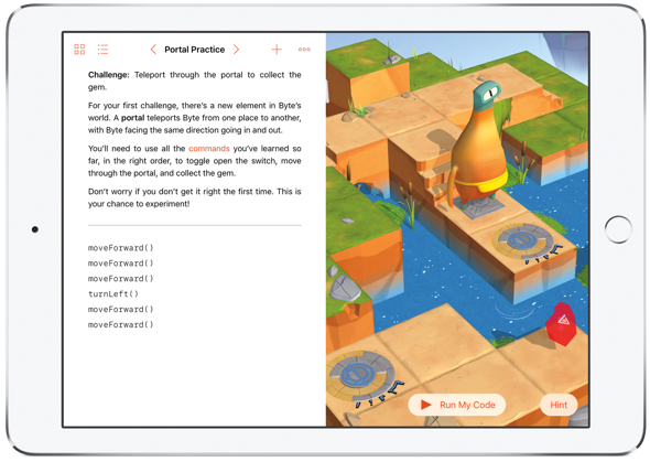 Apple's free Swift Playgrounds app for iPad