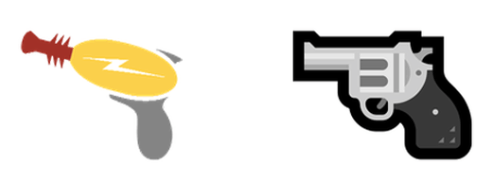 "Microsoft's old ""gun"" emoji (left) and the new one (right)"