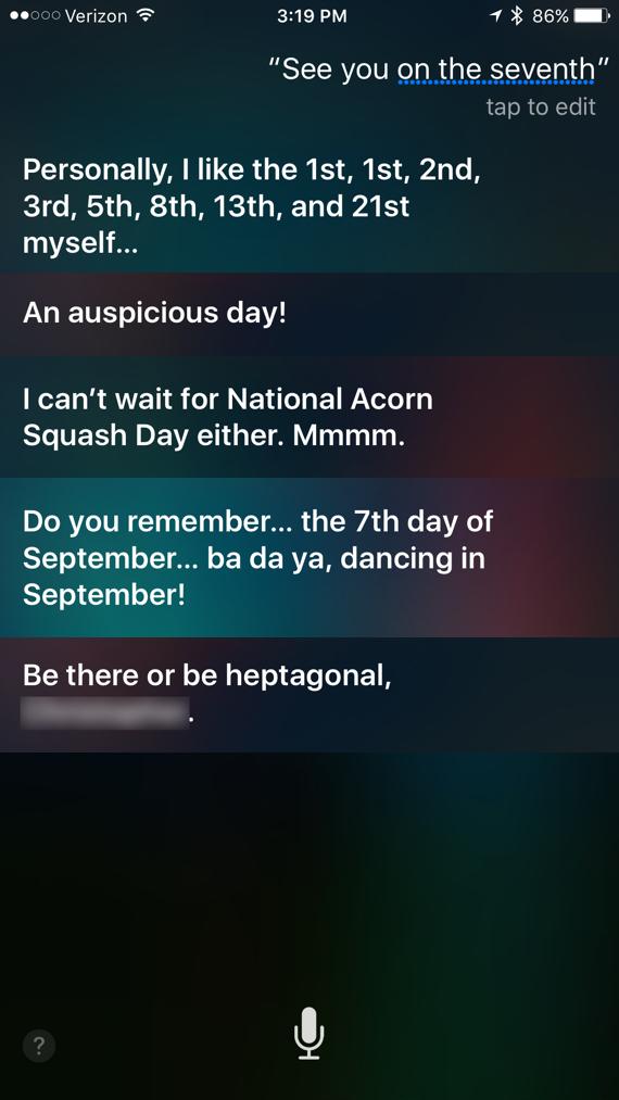 Siri responses to September 7, 2016 event