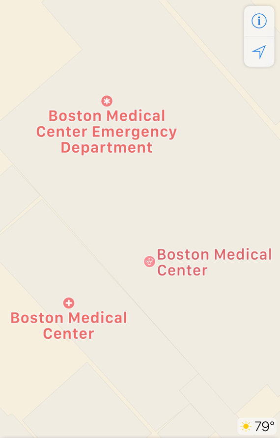 Apple Maps displaying hospital, medical center, and emergency department in iOS 10