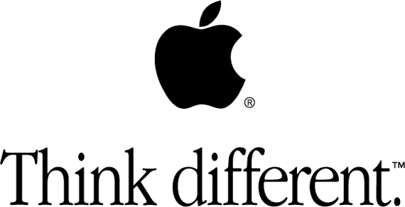 "Apple's trademarked ""Think different"" slogan"