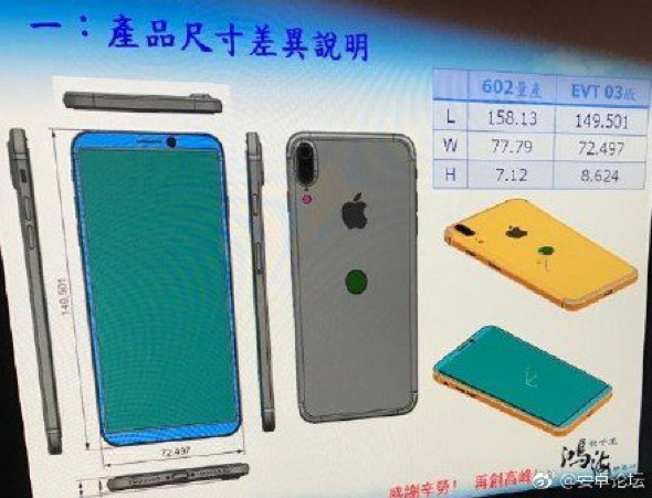 Claimed iPhone 8 schematics (via: Weibo)